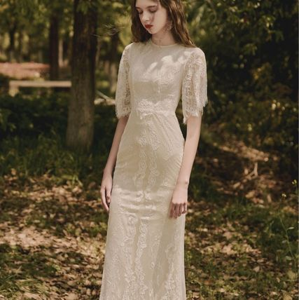 Long Short Sleeves Lace Bridal Wedding Dresses