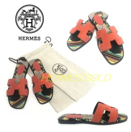 HERMES Round Toe Plain Leather Party Style Elegant Style Sandals