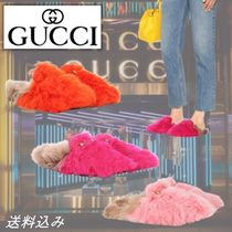 GUCCI Princetown Casual Style Fur Leather Mules Logo Sandals