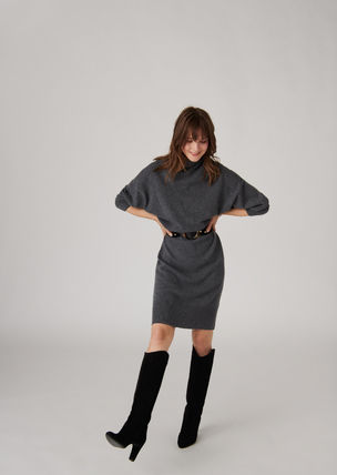 Casual Style Wool Cashmere Plain Medium Office Style
