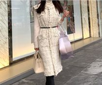 minsshop Casual Style Tweed Plain Long Party Style Office Style