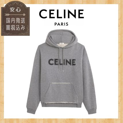 CELINE Hoodies Unisex Studded Street Style Long Sleeves Cotton Logo Luxury