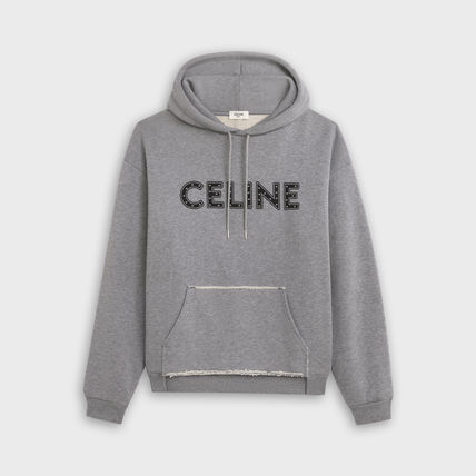 CELINE Hoodies Unisex Studded Street Style Long Sleeves Cotton Logo Luxury 2