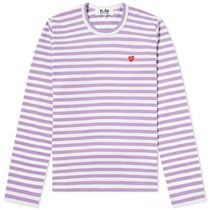 PLAY COMME des GARCONS Crew Neck Stripes Heart Long Sleeves Cotton