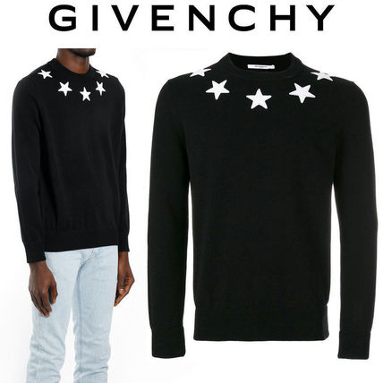 GIVENCHY Sweaters Crew Neck Pullovers Street Style Long Sleeves Plain Cotton