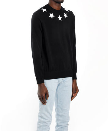 GIVENCHY Sweaters Crew Neck Pullovers Street Style Long Sleeves Plain Cotton 3