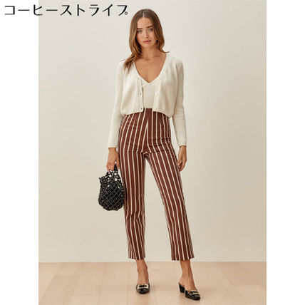 Stripes Casual Style Cotton Long Office Style Elegant Style