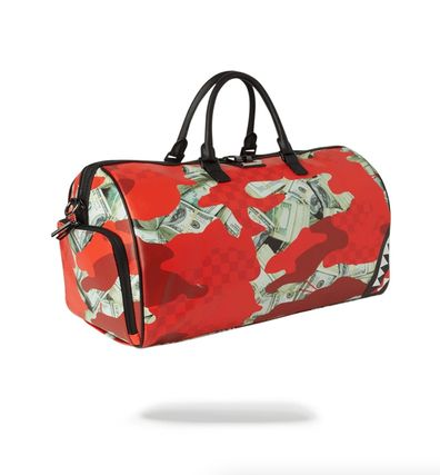 Camouflage Faux Fur Street Style PVC Clothing Boston Bags