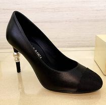 CHANEL ICON Round Toe Casual Style Blended Fabrics Plain Pin Heels