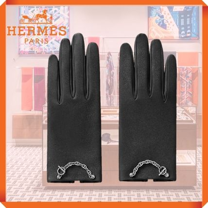 HERMES Leather Logo Leather & Faux Leather Gloves