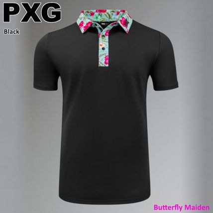 PXG Polos Pullovers Tropical Patterns Street Style Plain Short Sleeves 2