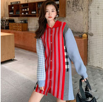 Cable Knit Gingham Stripes Tartan Casual Style Street Style