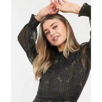 New Look Short Long Sleeves Plain Party Style Lace Elegant Style