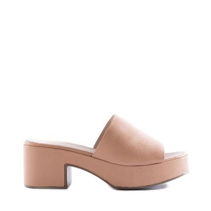 Open Toe Platform Casual Style Suede Plain Leather
