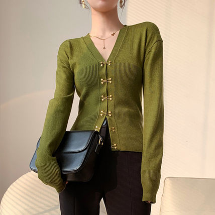 Cable Knit Casual Style Peplum Bi-color Long Sleeves Plain
