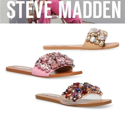 Steve Madden More Sandals Rubber Sole Casual Style Studded Street Style Leather 2