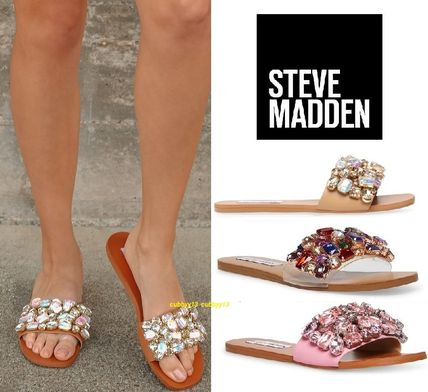 Steve Madden More Sandals Rubber Sole Casual Style Studded Street Style Leather