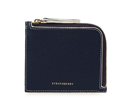 Calfskin Plain Leather Small Wallet Logo Coin Cases
