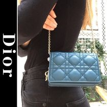 Christian Dior LADY DIOR Casual Style Lambskin Plain Leather Party Style