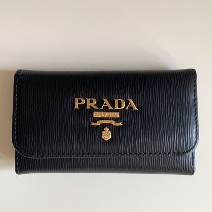 PRADA SAFFIANO LUX Unisex Plain Leather Logo Keychains & Bag Charms