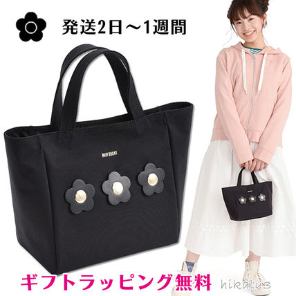 Flower Patterns Casual Style Elegant Style Logo Totes