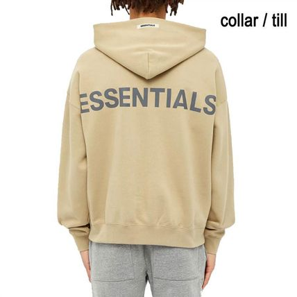 FEAR OF GOD ESSENTIALS Street Style Long Sleeves Plain Cotton Logo Hoodies