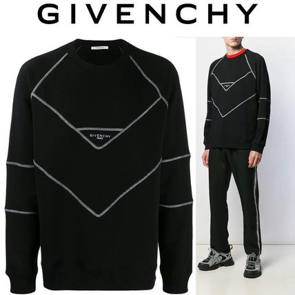GIVENCHY Sweatshirts Street Style Long Sleeves Cotton Oversized Logo Luxury