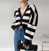 Cable Knit Stripes Casual Style Peplum Bi-color Long Sleeves