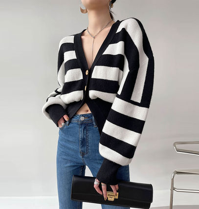 Formal Style  Military Cable Knit Stripes Casual Style