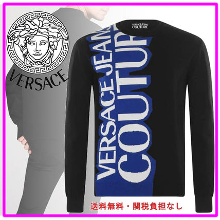 VERSACE Sweaters Crew Neck Pullovers Street Style Long Sleeves Plain Cotton