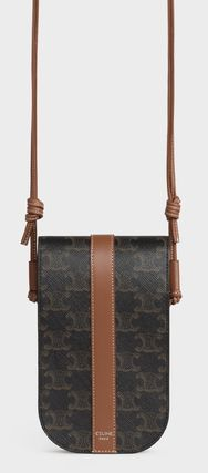 CELINE Phone Pouch In Triomphe Canvas And Calfskin