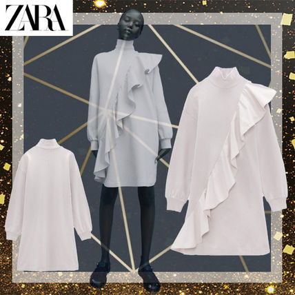 ZARA Short Casual Style Street Style Long Sleeves Cotton