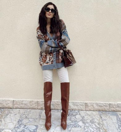 ZARA Asymmetry Other Plaid Patterns Cable Knit Flower Patterns