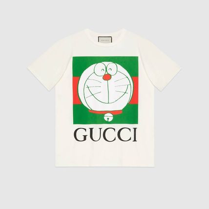 GUCCI Crew Neck Pullovers Unisex Street Style Cotton Short Sleeves