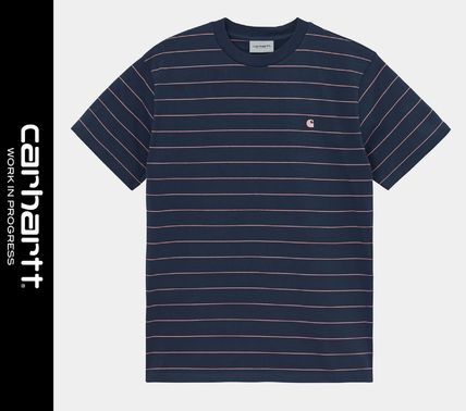Carhartt More T-Shirts Stripes Street Style Logo T-Shirts