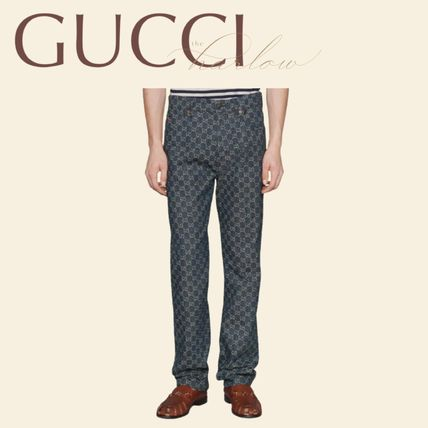 GUCCI More Jeans Monogram Denim Blended Fabrics Street Style Leather Cotton