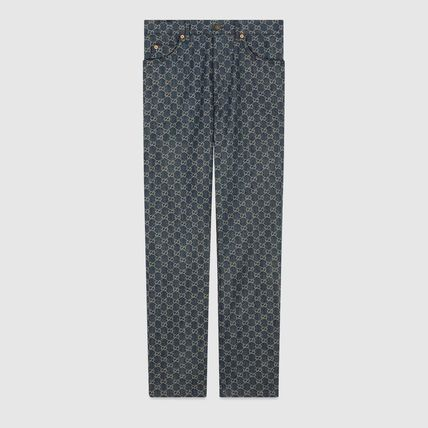 GUCCI More Jeans Monogram Denim Blended Fabrics Street Style Leather Cotton 2