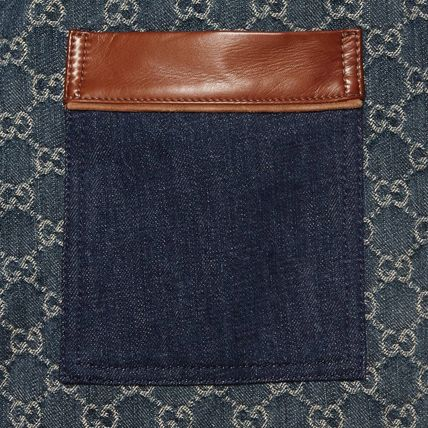 GUCCI More Jeans Monogram Denim Blended Fabrics Street Style Leather Cotton 3