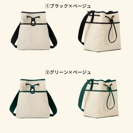Canvas Blended Fabrics Bi-color Leather Party Style Purses