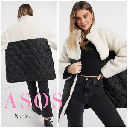ASOS Blended Fabrics Street Style Bi-color Long Shearling Parkas