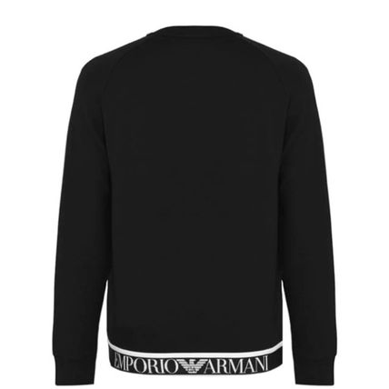 EMPORIO ARMANI Crew Neck Pullovers Street Style Long Sleeves Plain Logo