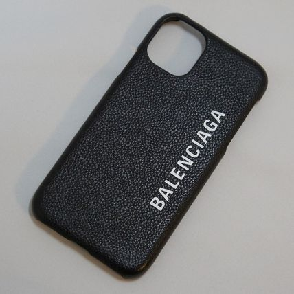 BALENCIAGA Unisex Plain Leather Logo iPhone 11 Smart Phone Cases