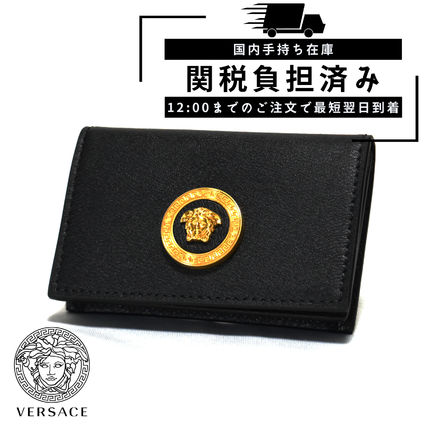 VERSACE Logo Unisex Leather Card Holders