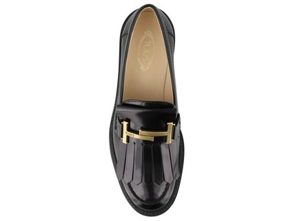 TOD'S Round Toe Rubber Sole Casual Style Plain Leather