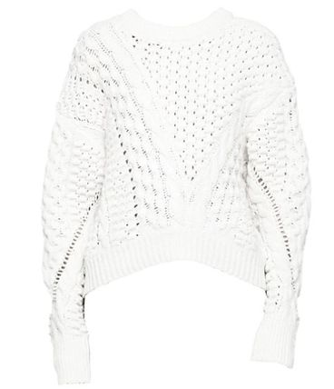 3.1 Phillip Lim Crew Neck Cable Knit Casual Style Wool Long Sleeves Plain