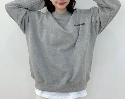 muahmuah Crew Neck Unisex Street Style Long Sleeves Plain Logo