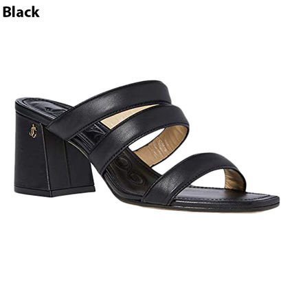 Jimmy Choo Open Toe Casual Style Plain Leather Block Heels Logo Sandals