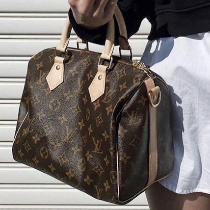 Louis Vuitton Monogram Canvas 2WAY Leather Crossbody Logo Boston & Duffles