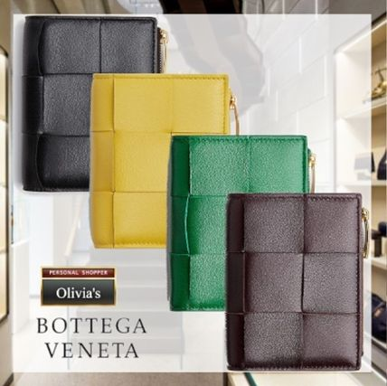 BOTTEGA VENETA Unisex Calfskin Lambskin Blended Fabrics Plain Leather