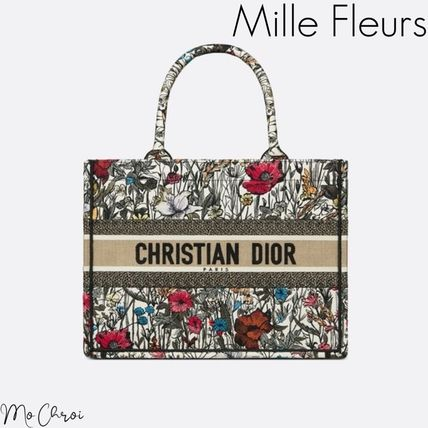 Christian Dior BOOK TOTE Flower Patterns Casual Style 2WAY Office Style Elegant Style